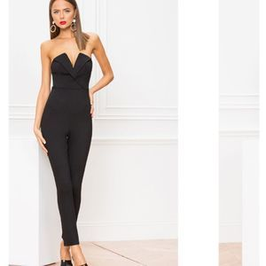 superdown Madi Strapless Catsuit Jumpsuit in Black